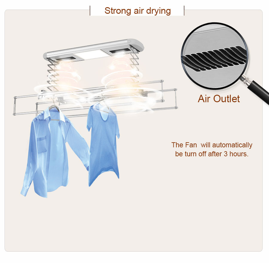 automatic clothes drying rack with air fans
